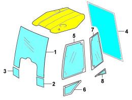 Стекла для экскаватора-погрузчика Caterpillar: 422F, 428F, 432F, 434F, 444F